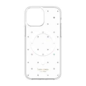 Kate Spade Protective Hardshell Case iPhone 13 Pro Max - Spade Pin Dot Iridescent/Iridescent Gems/Clear