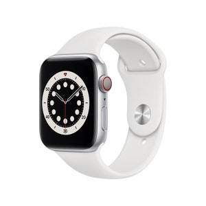 Apple Watch Series 6 44mm Silver Aluminium Case with White Sport Band - GPS + Cellular