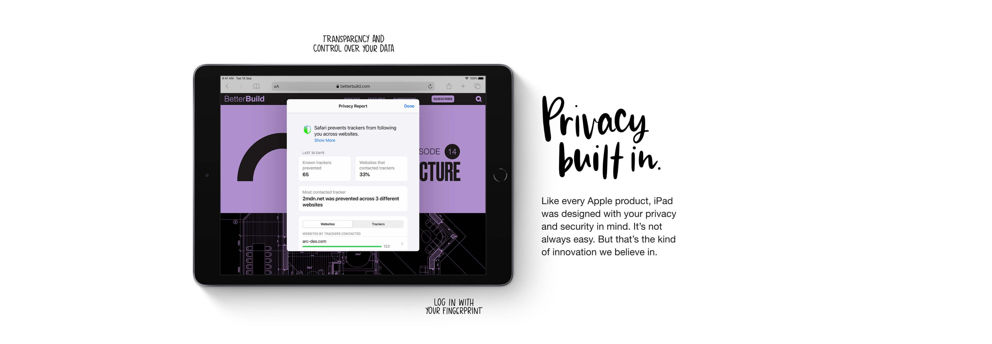 iPad 8th Generation -  Privacy built in - Log in with your fingerprint.