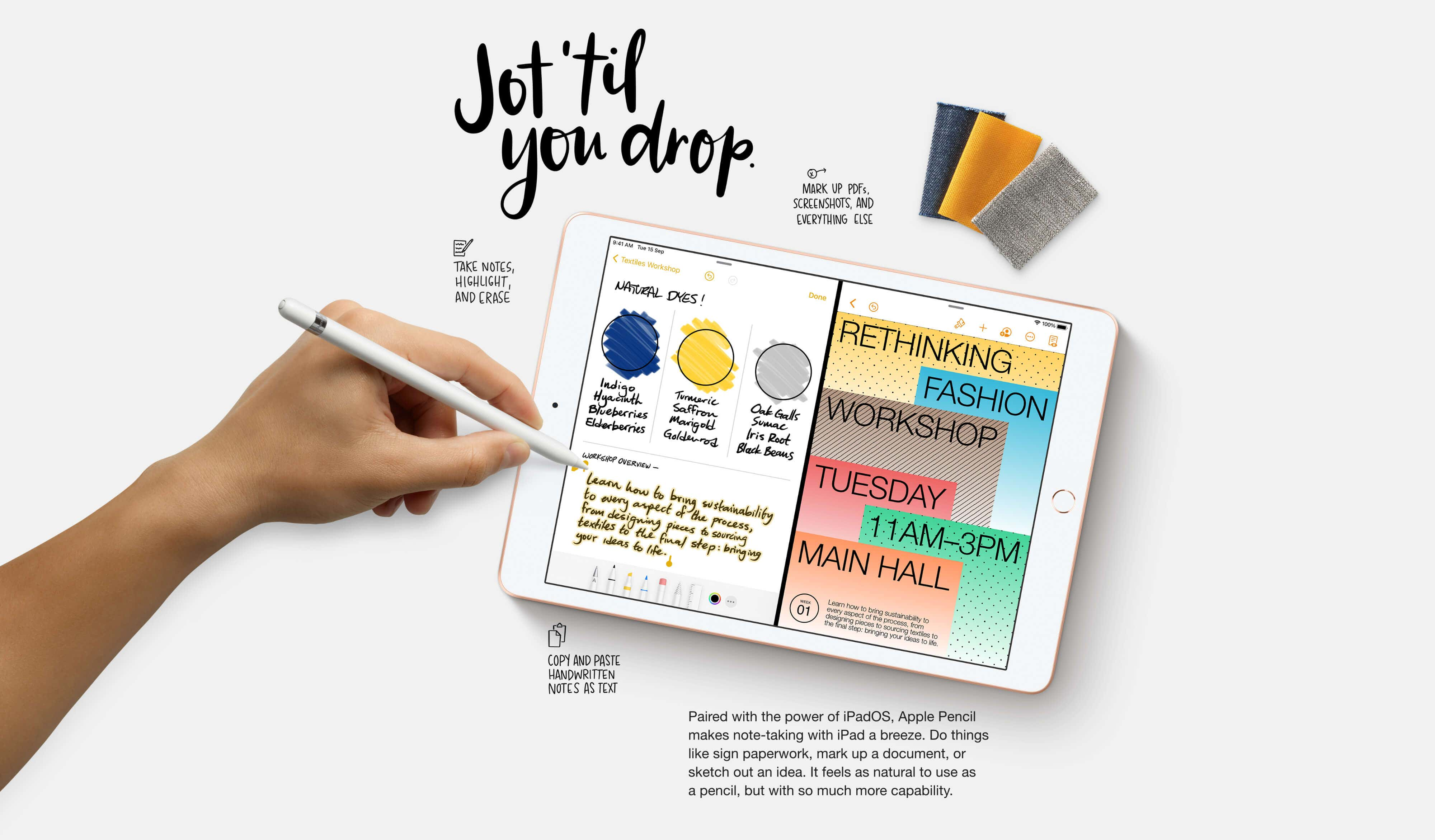 iPad 8th Generation - Paired with the power of iPad OS, Apple Pencil takes note-taking with iPad a breeze.